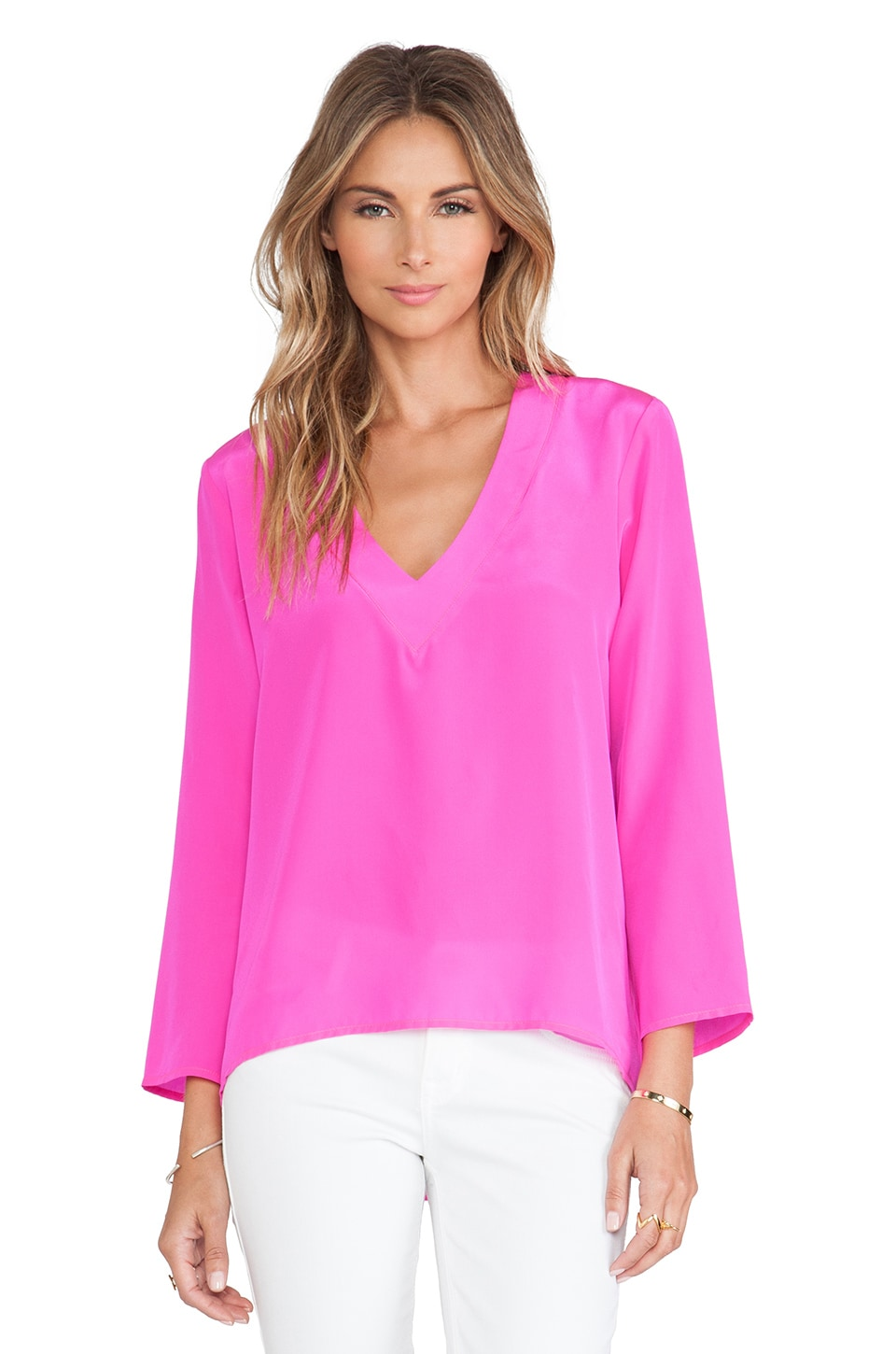 Amanda Uprichard Laurel Top in Hot Pink