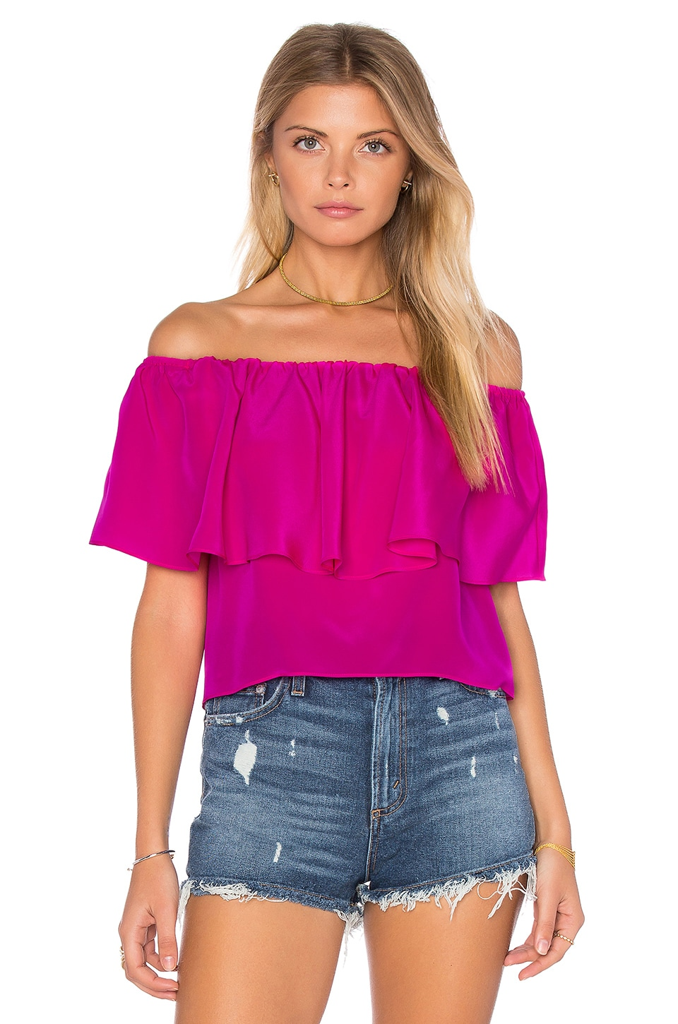Amanda Uprichard Kiara Top in Hot Pink Light