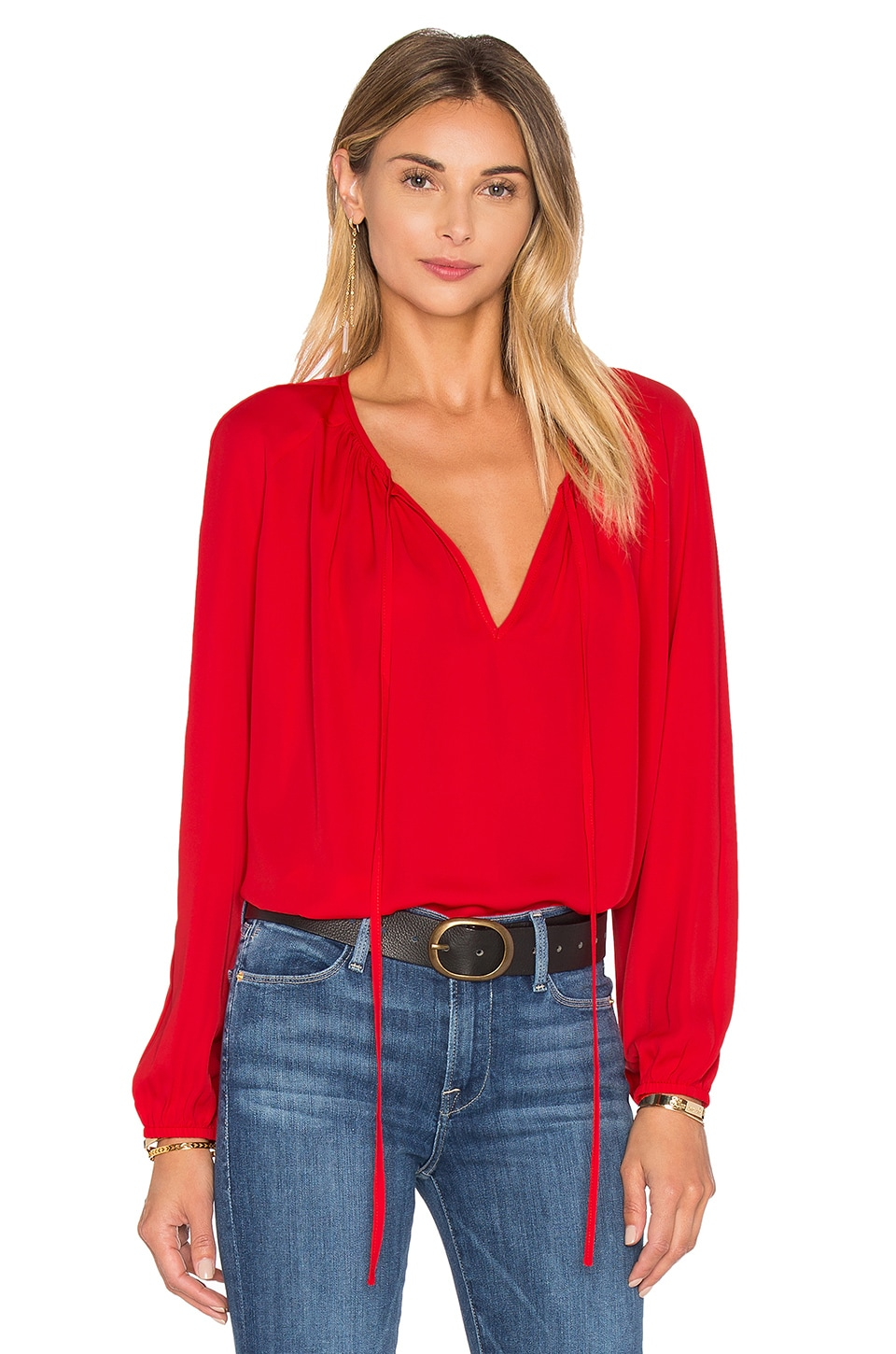 Amanda Uprichard Alessia Blouse in Candy Apple