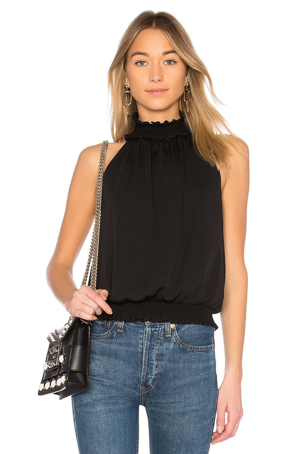 5dda169839 Amanda Uprichard Kimmie Mock Neck Top in Black