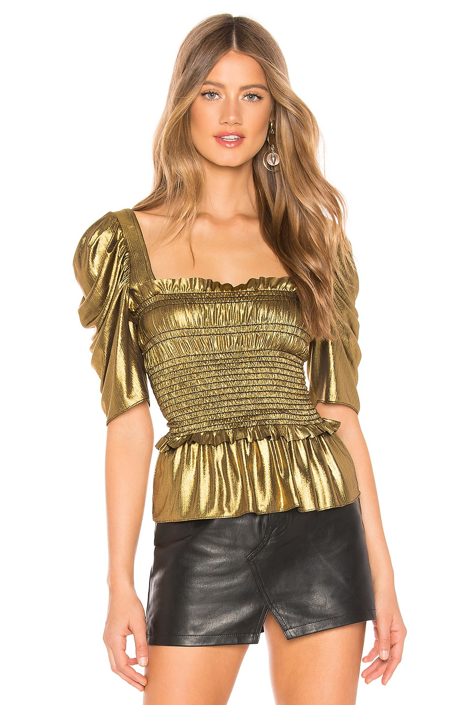 Amanda Uprichard x REVOLVE Marisol Top in Gold Lame