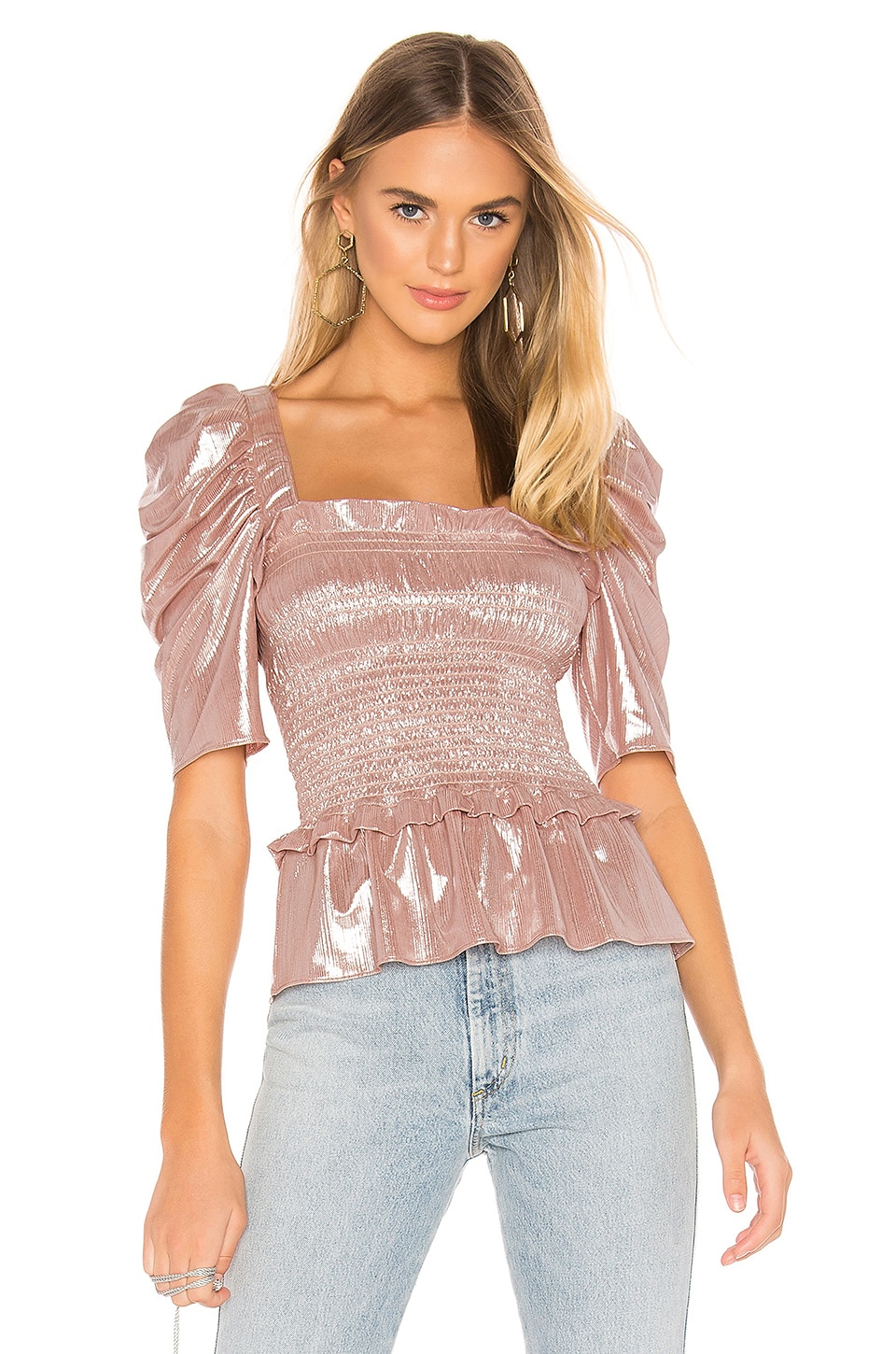 Amanda Uprichard Marisol Top in Blush Silver Lame