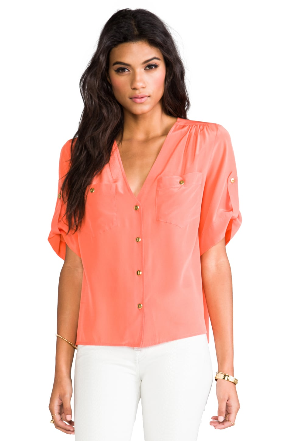 Amanda Uprichard Pocket Top in Coral