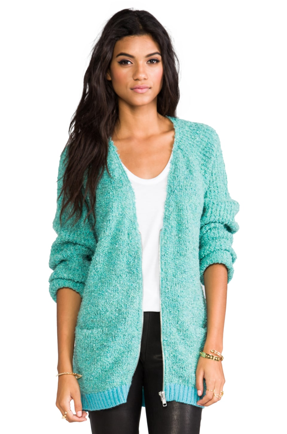April, May Cougar Champhor Cardigan in Turquoise
