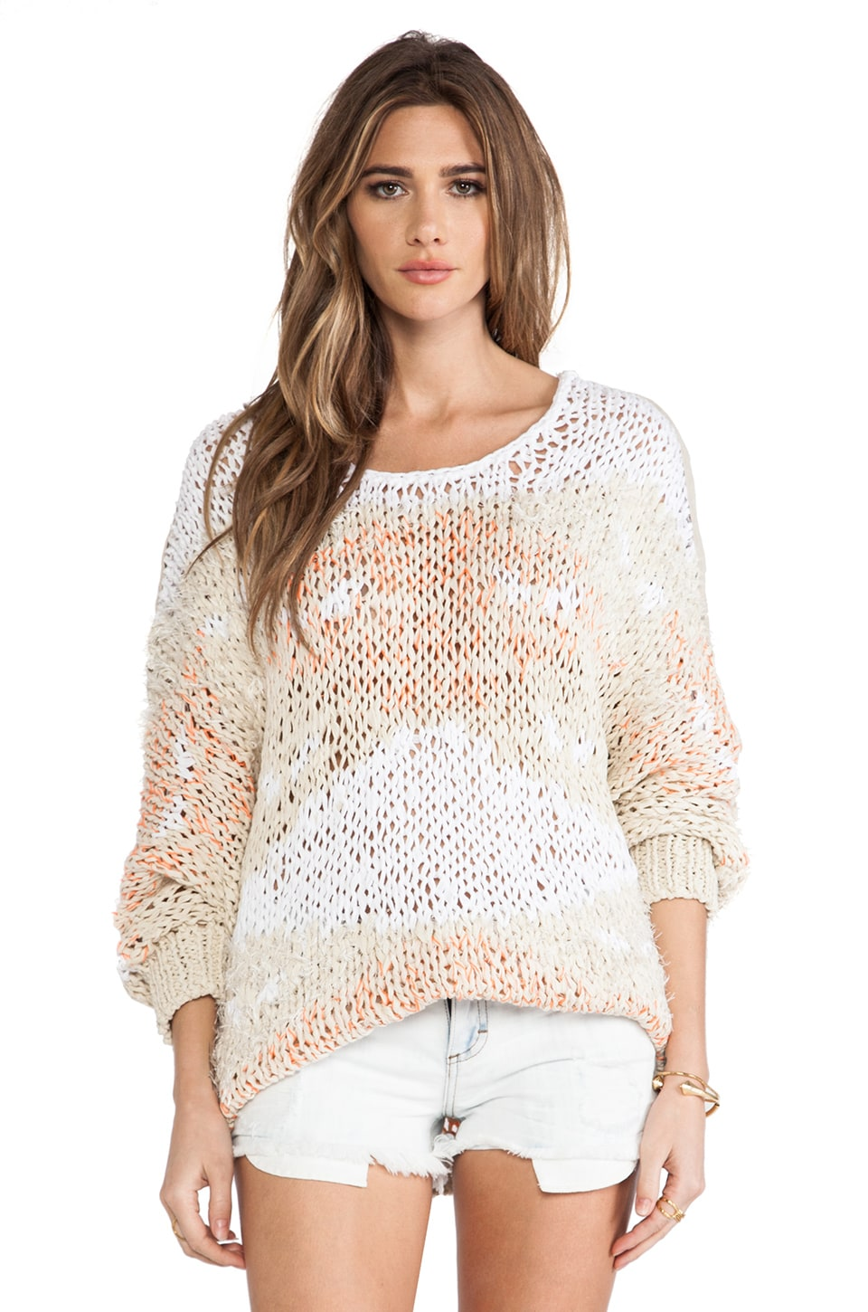 April, May Jujube Sweater in White Multi