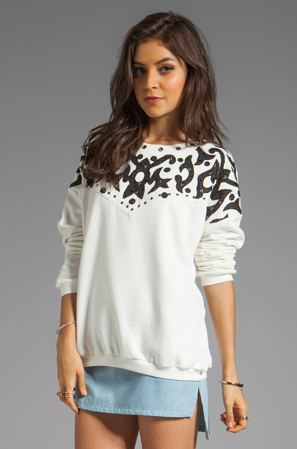April, May April May Aspen Sweatshirt in Ecru