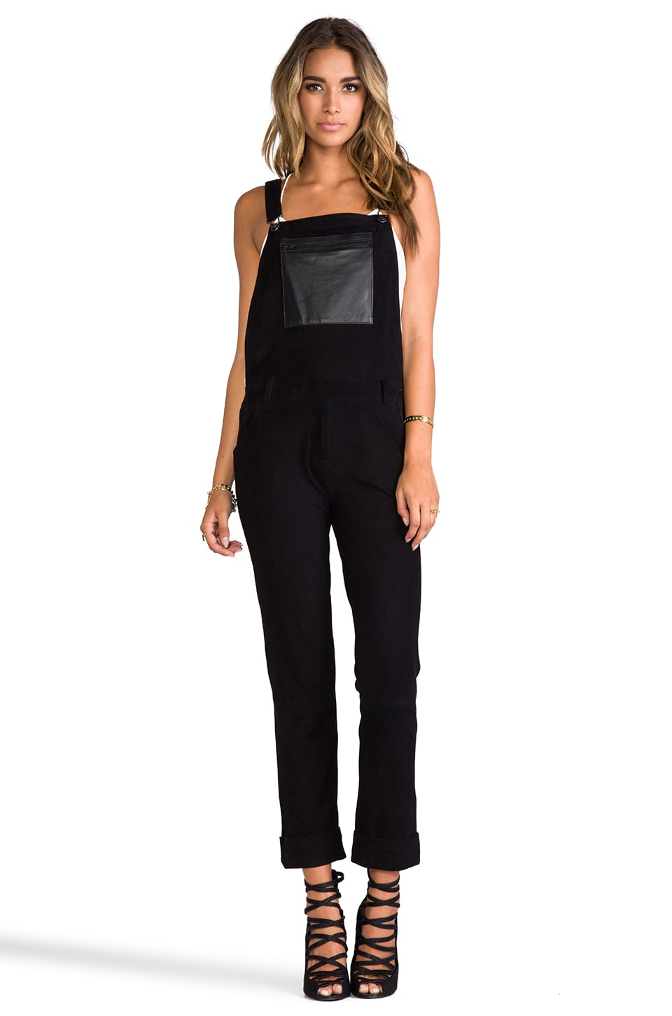 April, May Savour Suede Overalls in Black