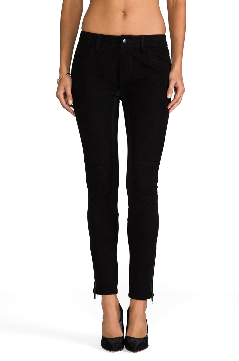 April, May Seven Suede Pants in Black