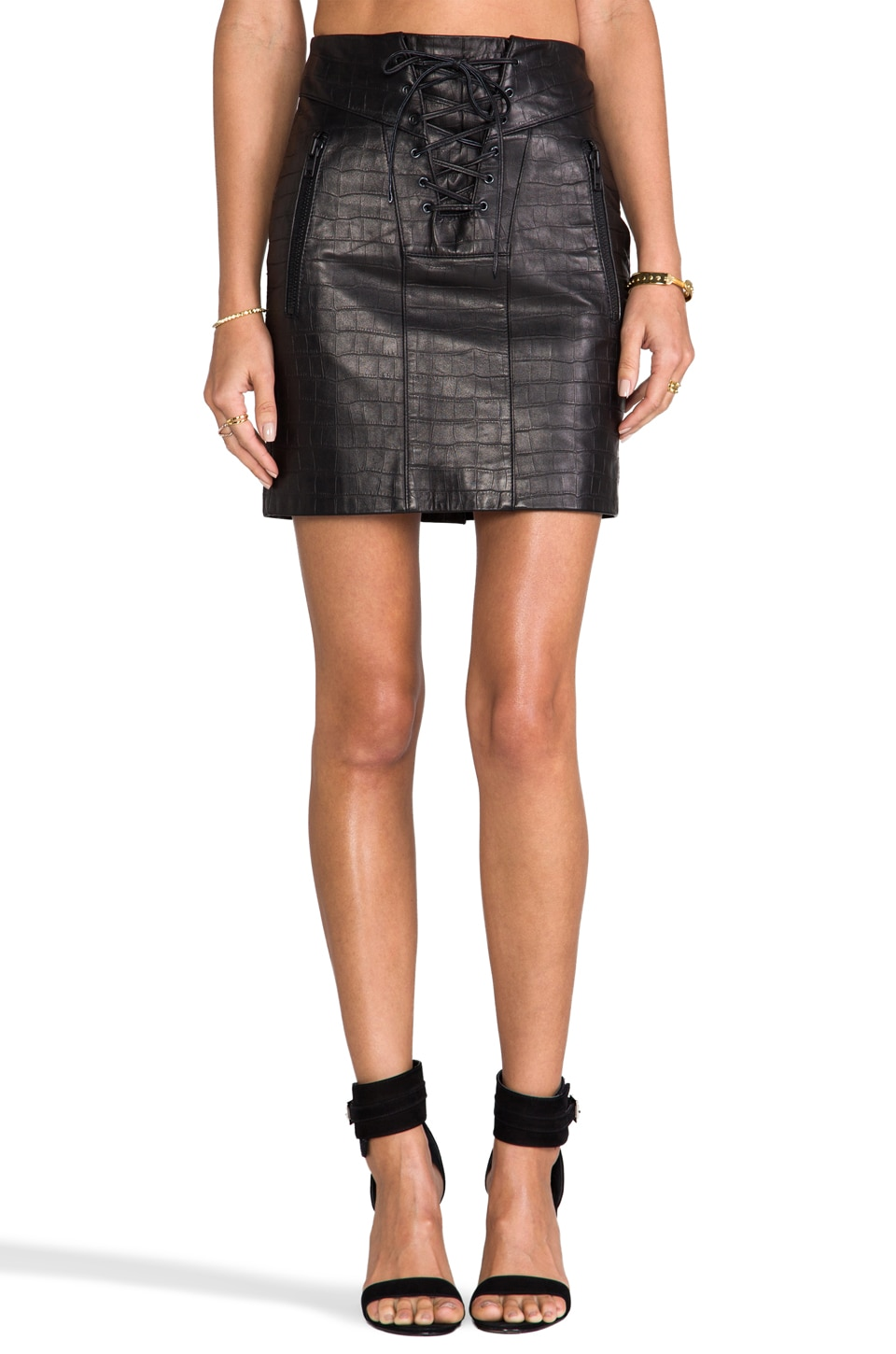 April, May Chazz Croco Skirt in Black