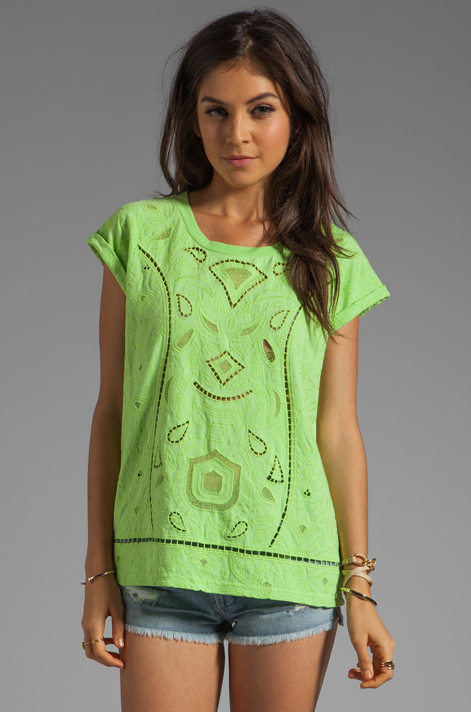 April, May April May Cancun Short Sleeve Top in Lime