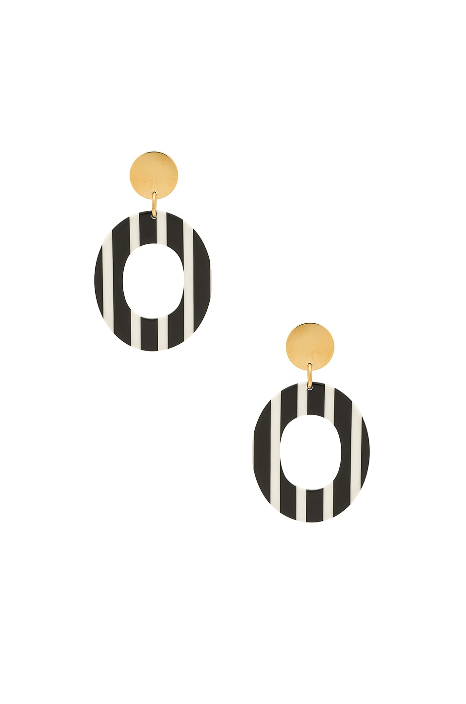 Amber Sceats Micca Earrings in Black White Stripe & Gold