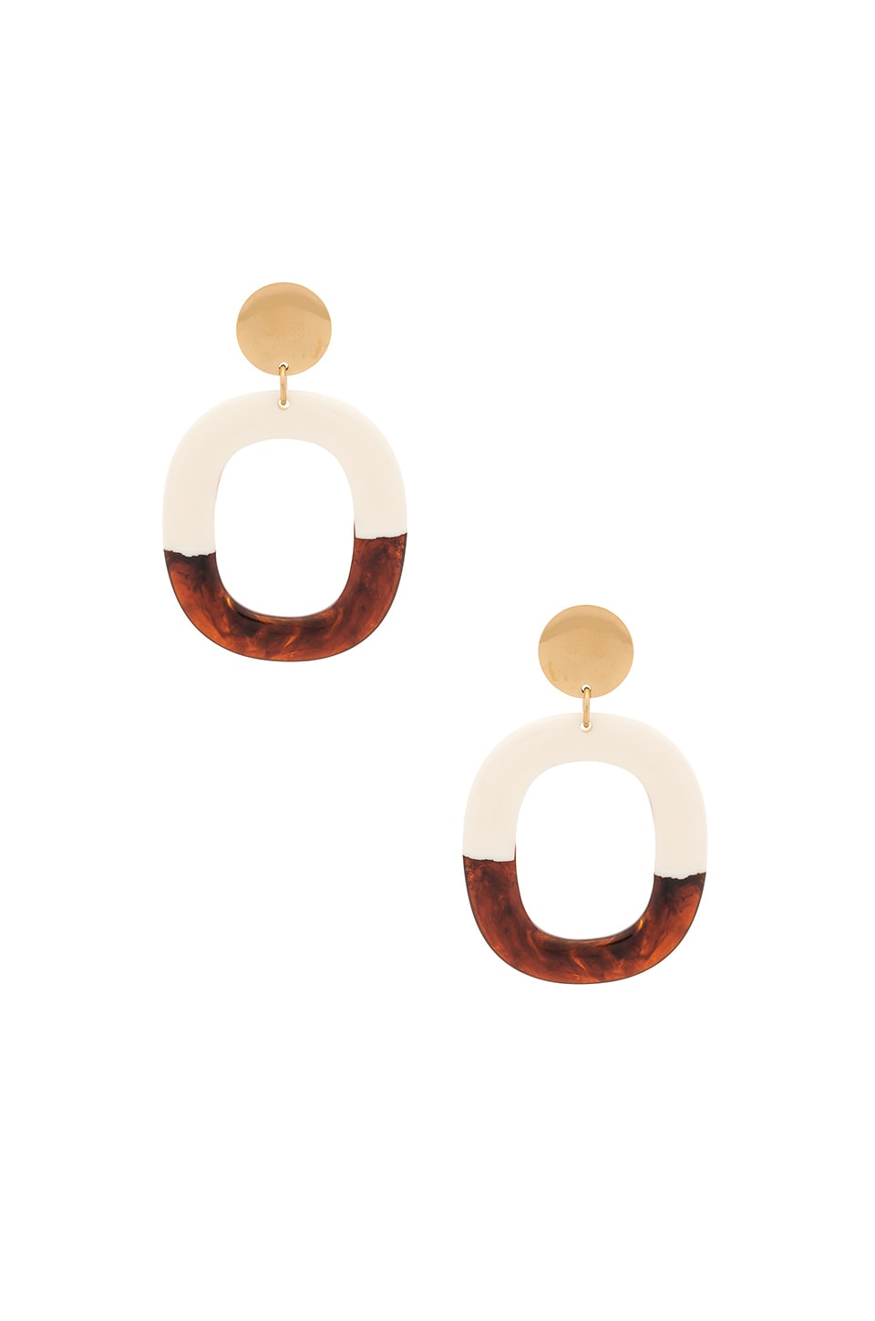 Amber Sceats Roca Earrings in White, Brown & Gold