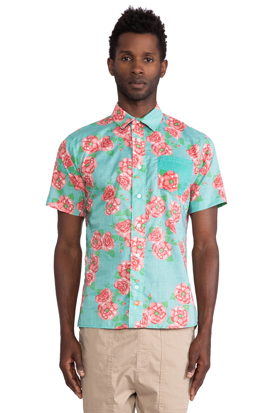 Ambsn Posey Button Down in Turquoise