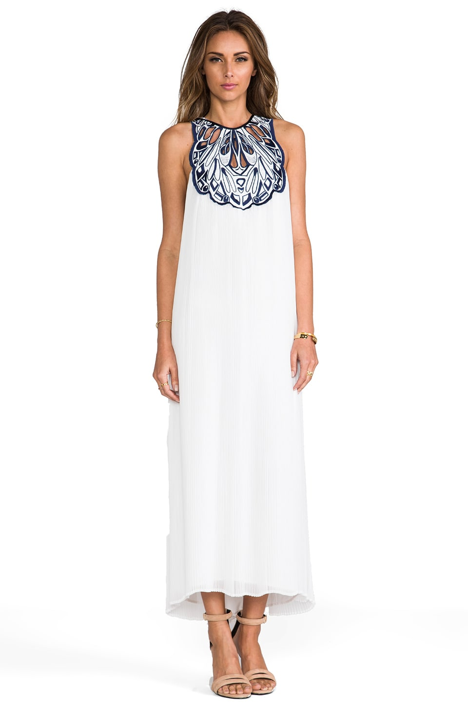 Alice McCall White Sea Maxi Dress in White & Navy
