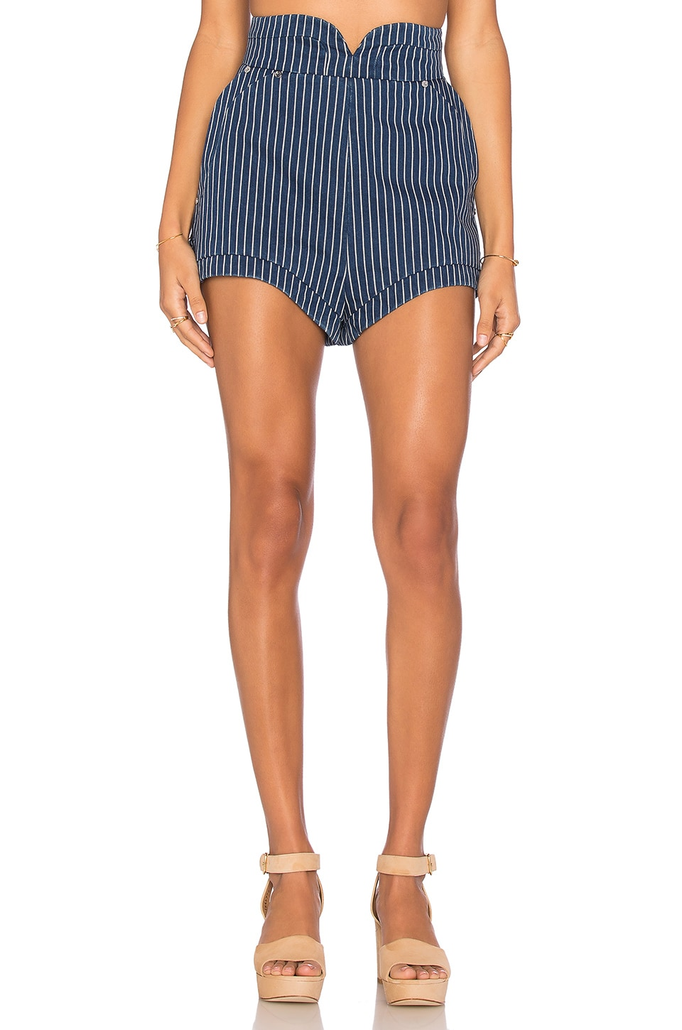 Alice McCall August Day Short in Indigo Pinstripe