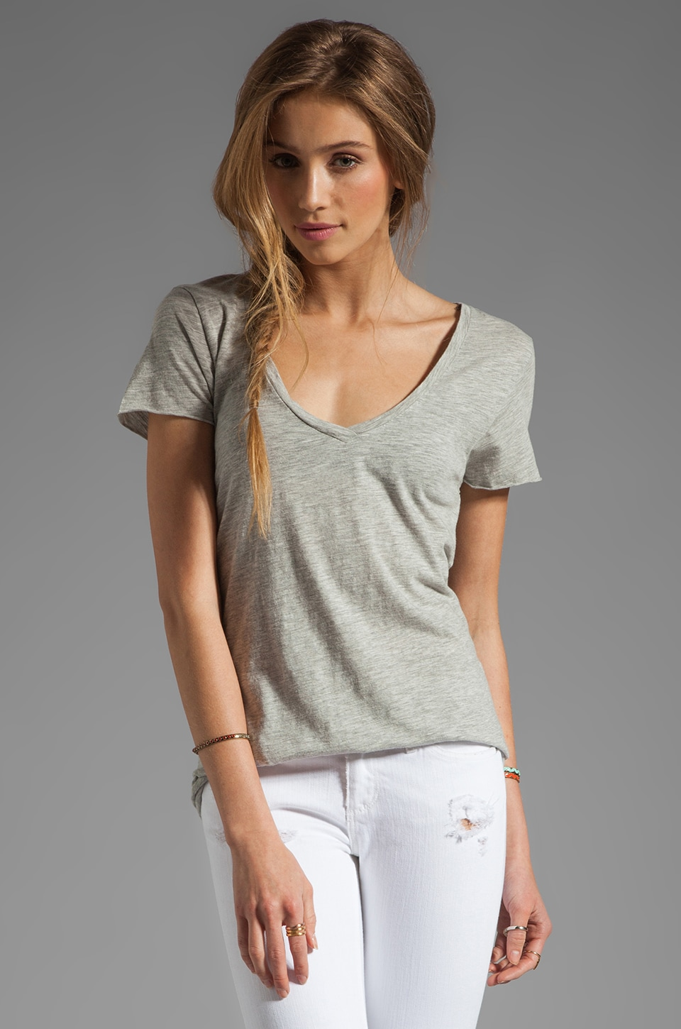 American Vintage Jacksonville V Neck Tee in Heather Grey