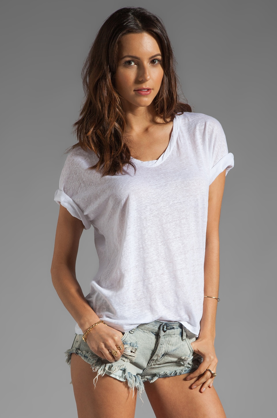American Vintage Kalamazoo V Neck Sleeveless Top in White