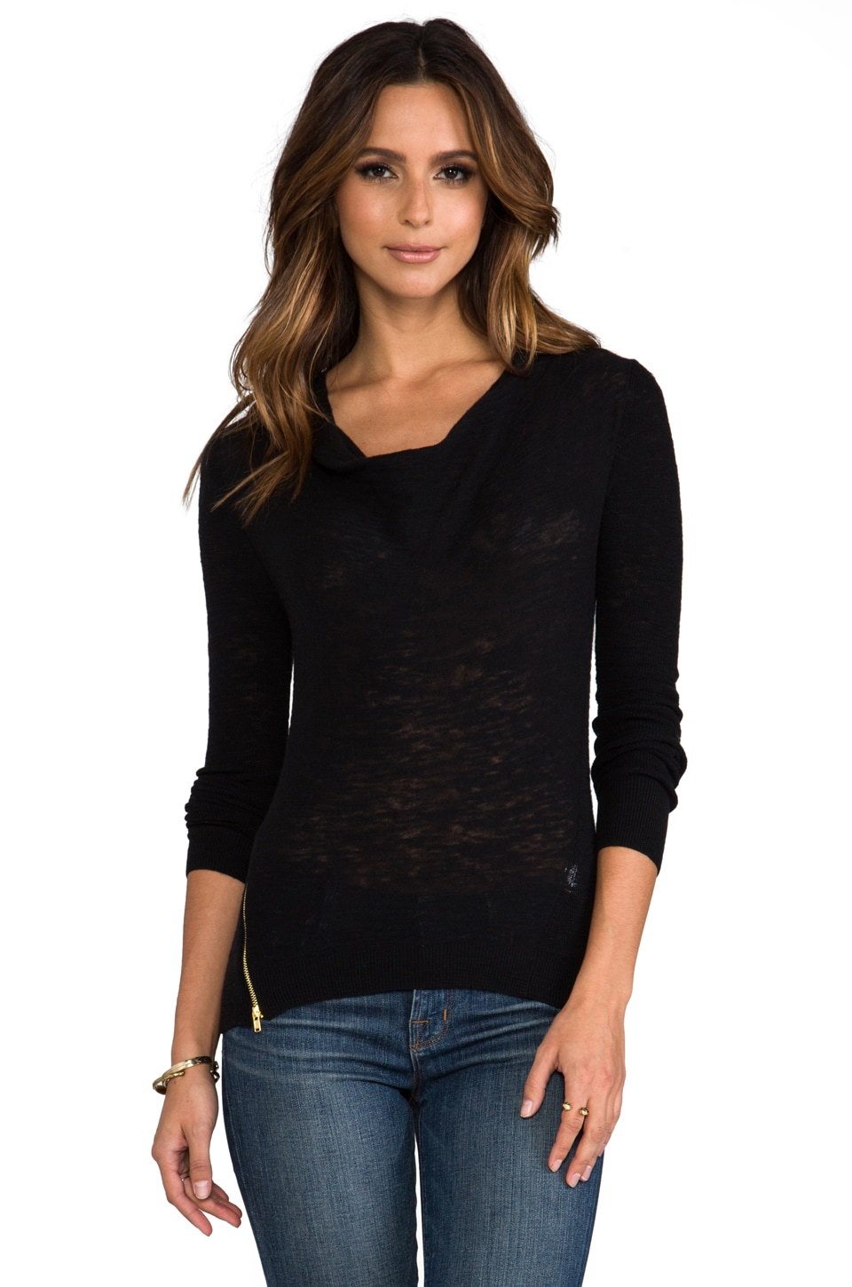 American Vintage Wappingers Cowl Neck Top in Black