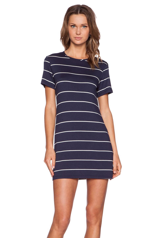 amour vert Brigette T-Shirt Dress in Navy Stripe