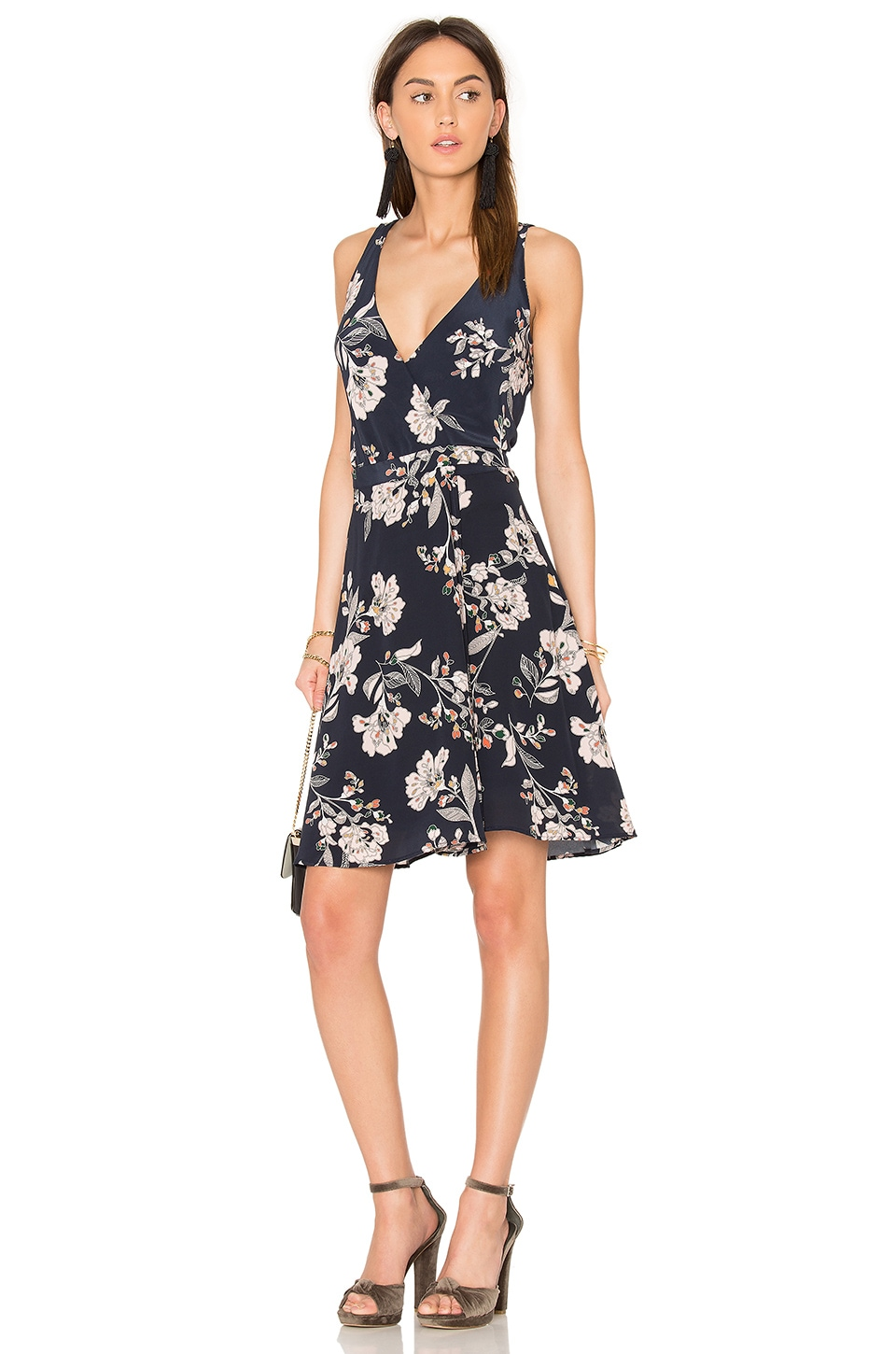 amour vert Brandy Wrap Dress in Navy Flower Print