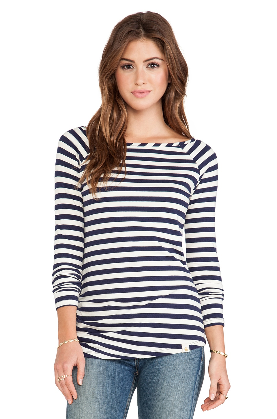 amour vert Chelsi Tee in Navy Stripes