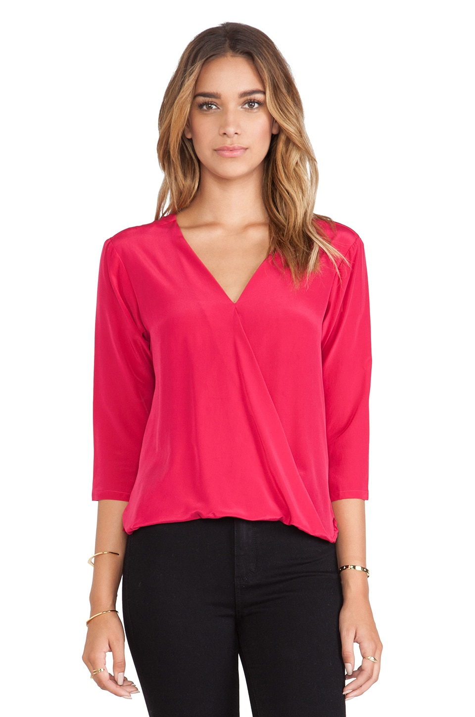 amour vert Devon Crossover Blouse in Raspberry