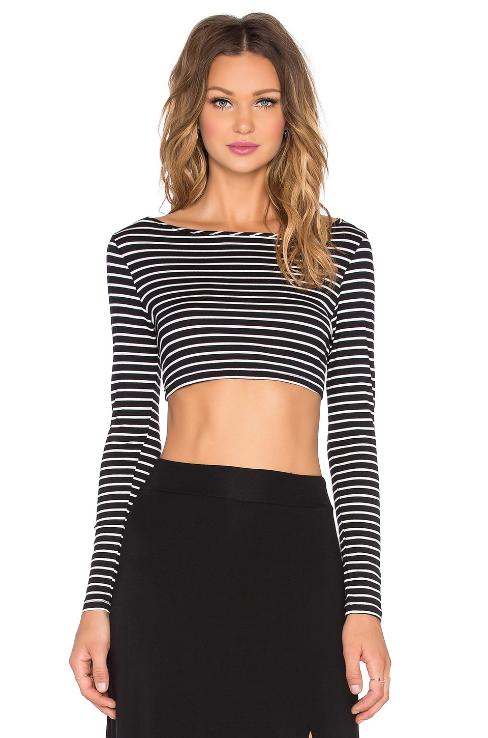 amour vert Christy Crop Top in Black & Ivory Stripe