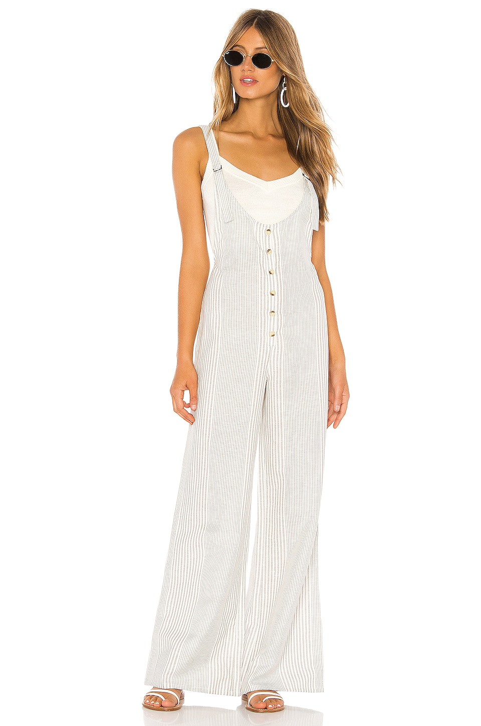 AMUSE SOCIETY Fina Overall Jumpsuit in Grey Stripe
