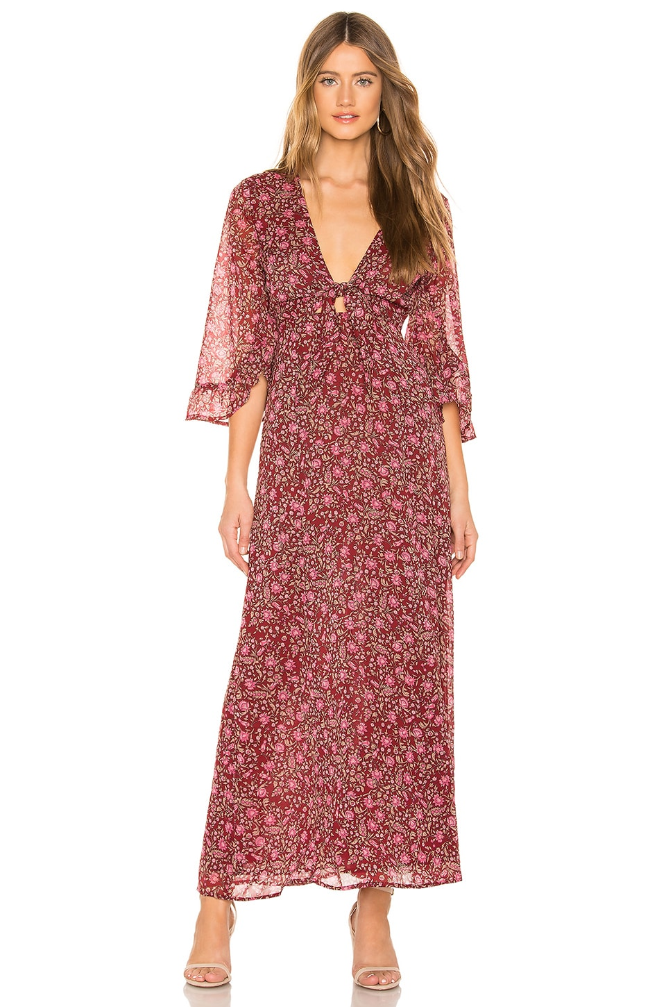 AMUSE SOCIETY Besos Besos Baby Knot Front Maxi Dress in Wine