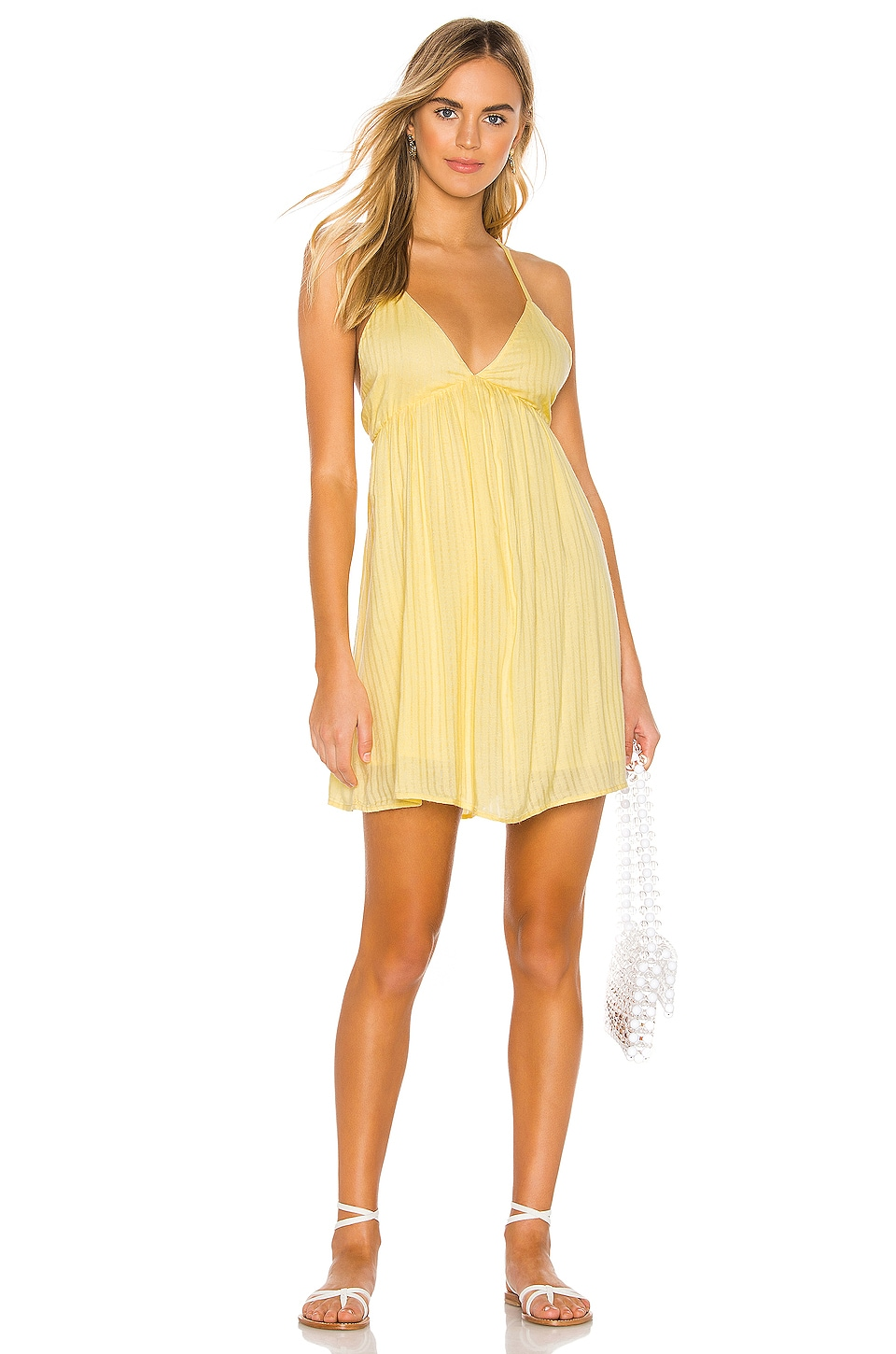 AMUSE SOCIETY Day Tripper Strappy Dress in Lemon