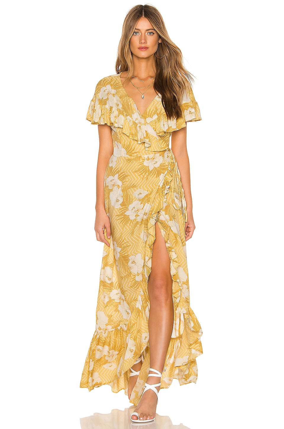 AMUSE SOCIETY Frill Seeker Maxi Dress in Ginger