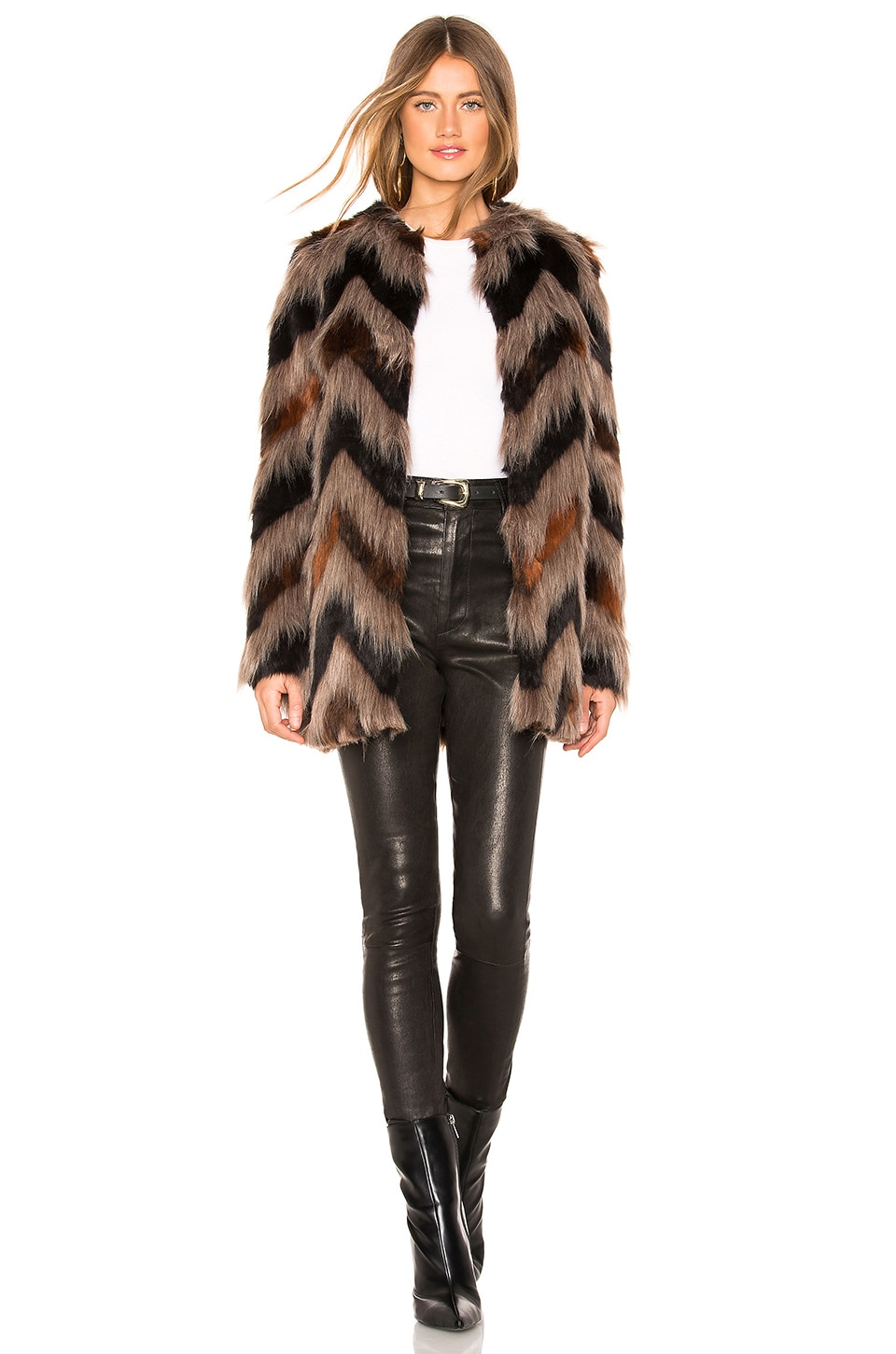 AMUSE SOCIETY Waylon Faux Fur Jacket in Black