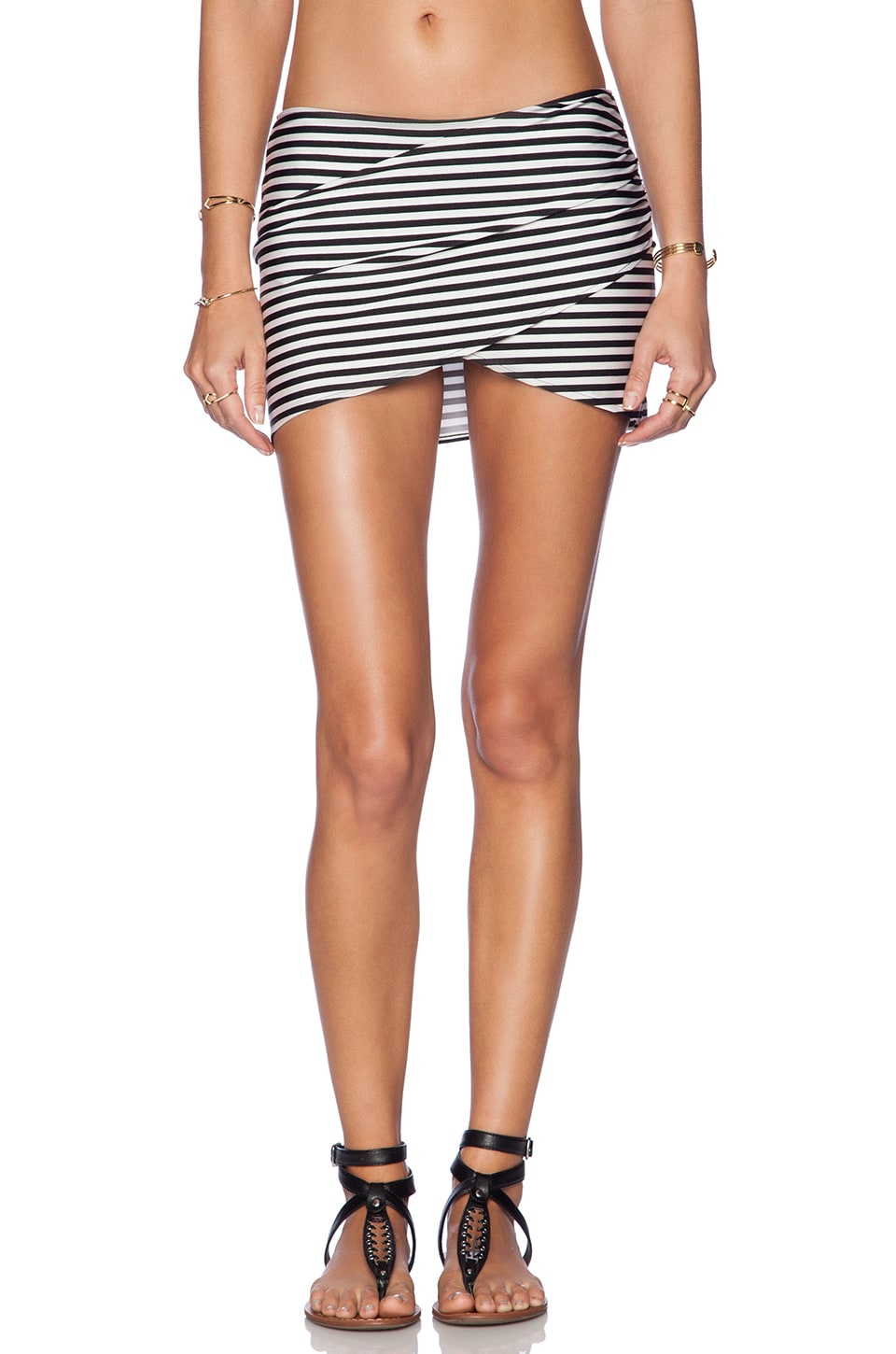 AMUSE SOCIETY Everyday Stripe Skirt in Black Sands