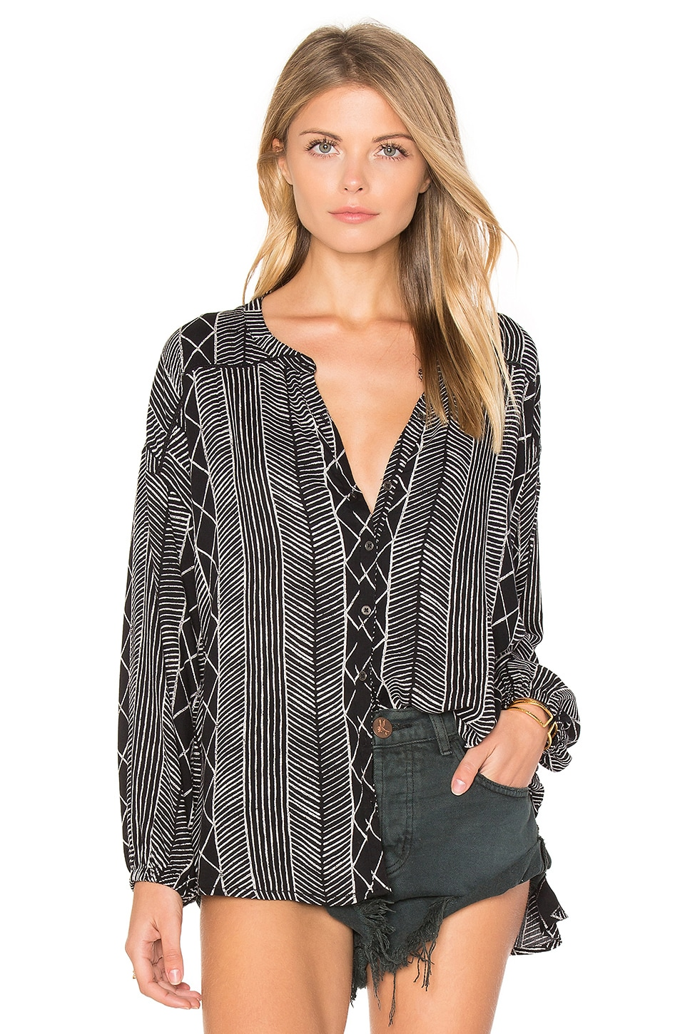 AMUSE SOCIETY Spellbound Woven Top in Black Sands