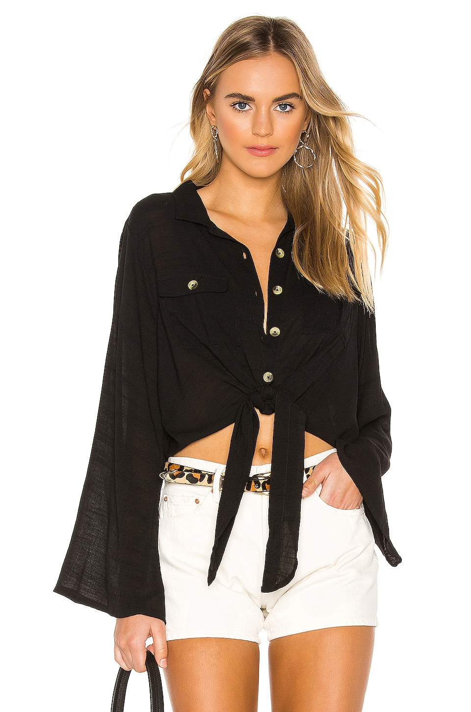 AMUSE SOCIETY Hammock Button Up Top in Black Sands