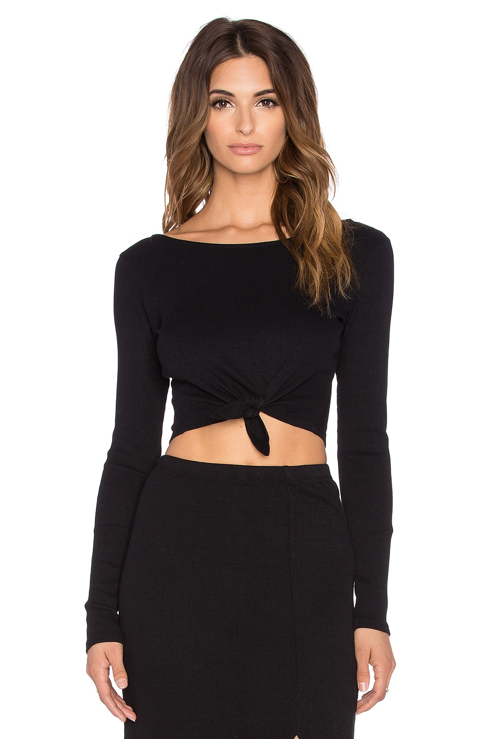 AMUSE SOCIETY Brady Tie Front Crop Top in Black Sands