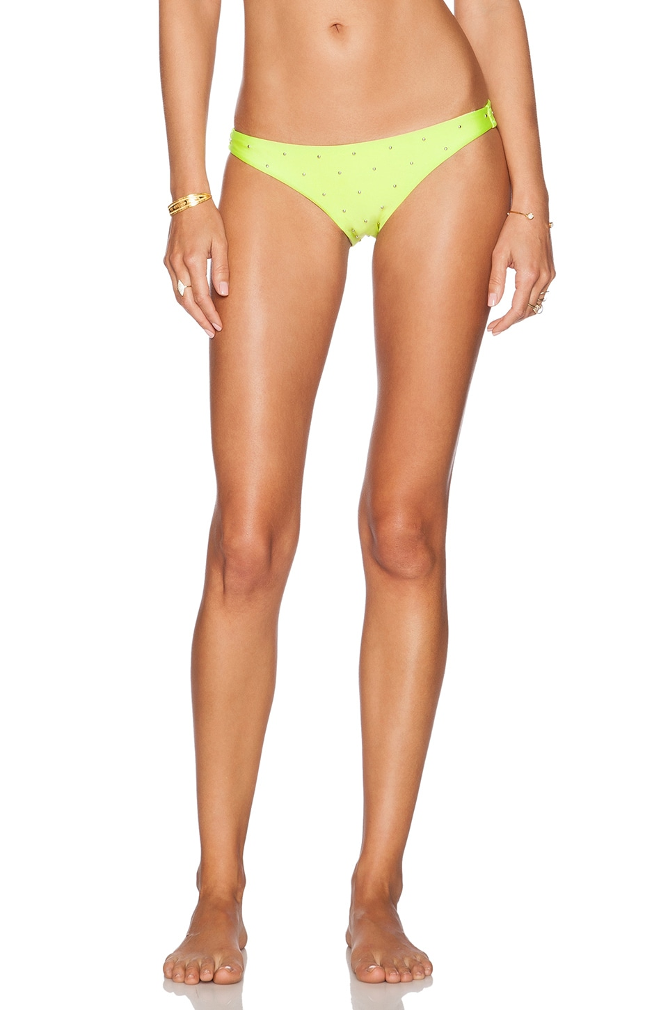 AMUSE SOCIETY Native Eliza Micro Stud Cheeky Bikini Bottoms in Citron