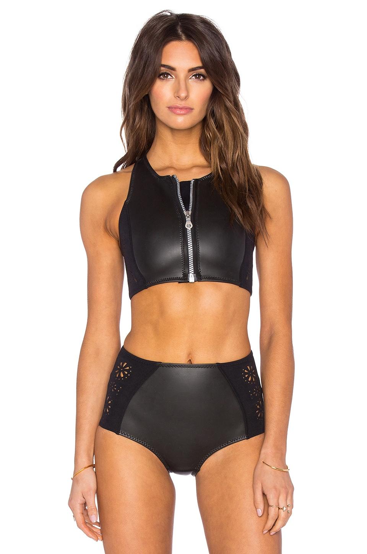 AMUSE SOCIETY Laka Crop Bikini Top in Black Sands