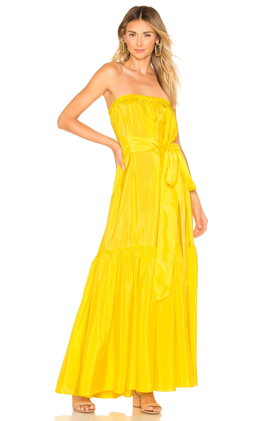 ANAAK Sakura Strapless Dress in Sun Yellow