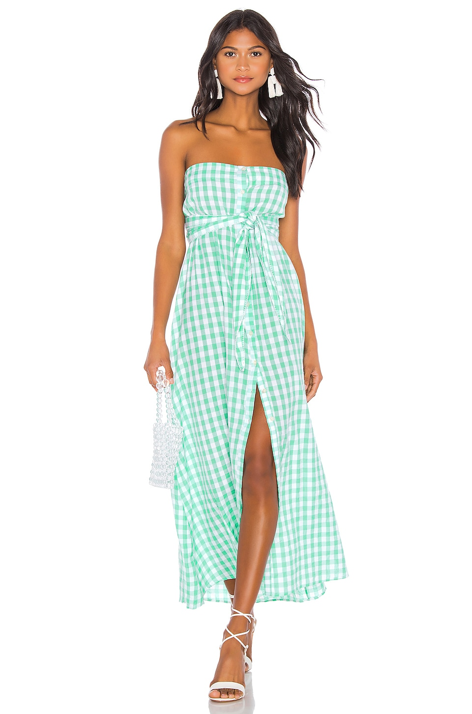 ANAAK Chateau Button Dress in Mint Gingham