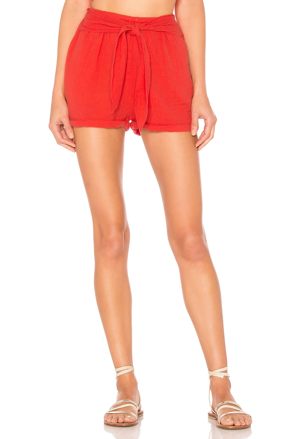 ANAAK Maithili Tie Shorts in Fire Red