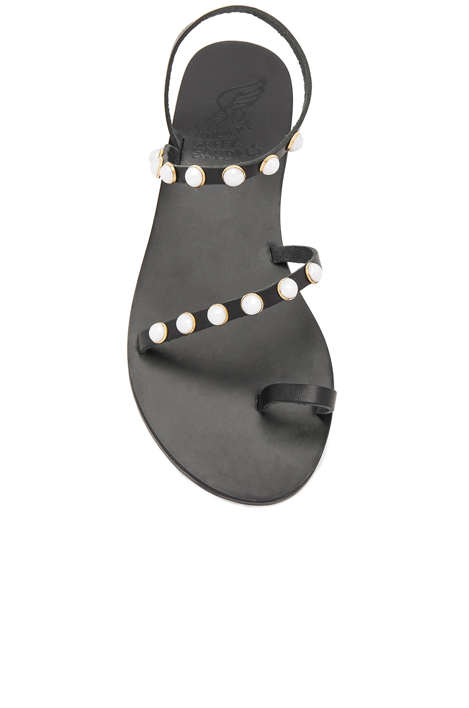 Ancient Greek Sandals Apli Eleftheria Pearls Sandal Black