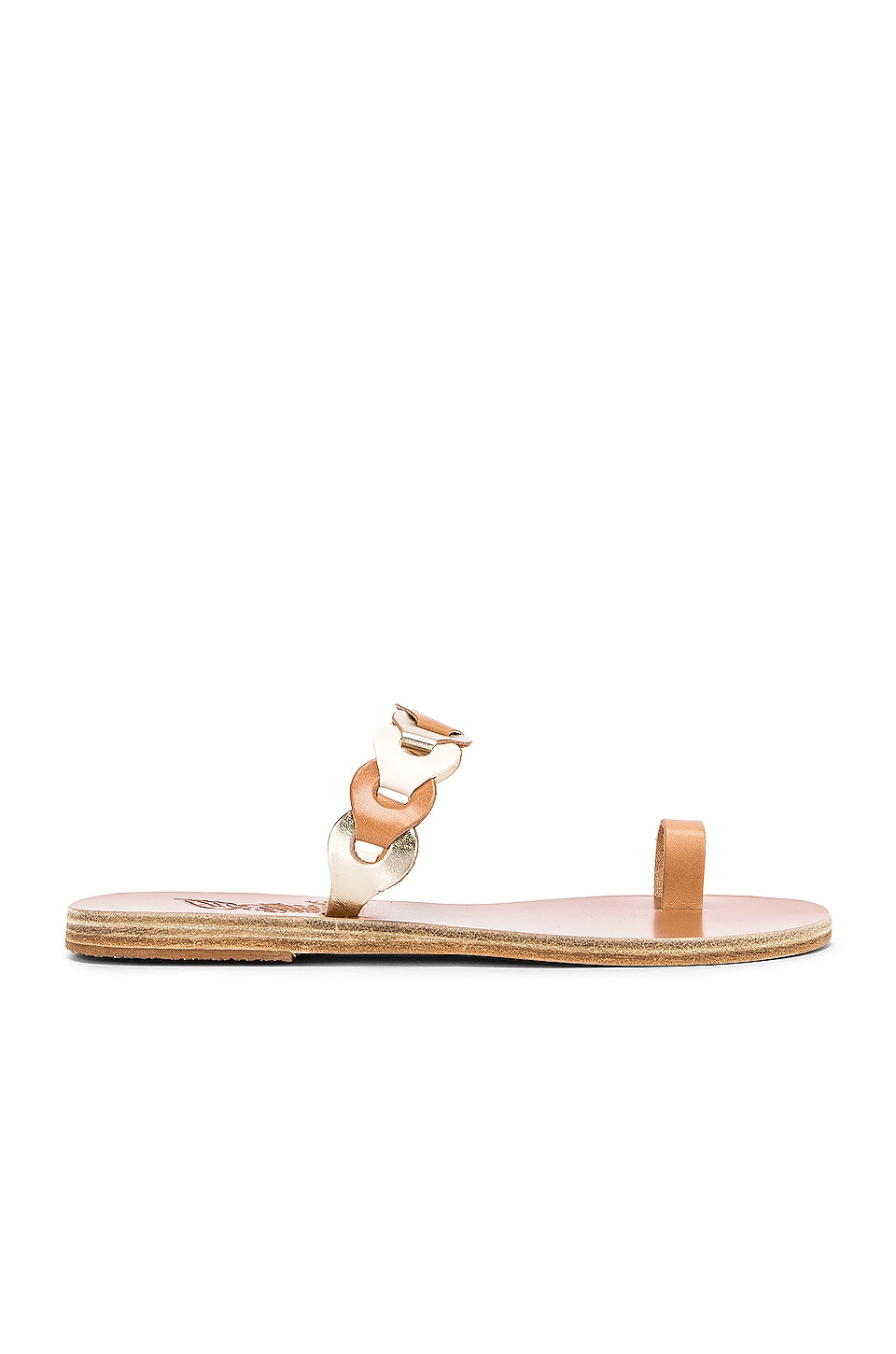 Ancient Greek Sandals Thalia Links Sandal in Natural, Off White & Platinum
