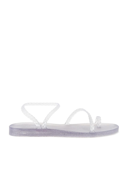 Ancient Greek Sandals Eleftheria Sandal in Clear & Silver Glitter