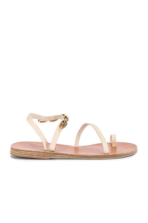 Ancient Greek Sandals Apli Eleftheria Gold Shells Sandal in Off White