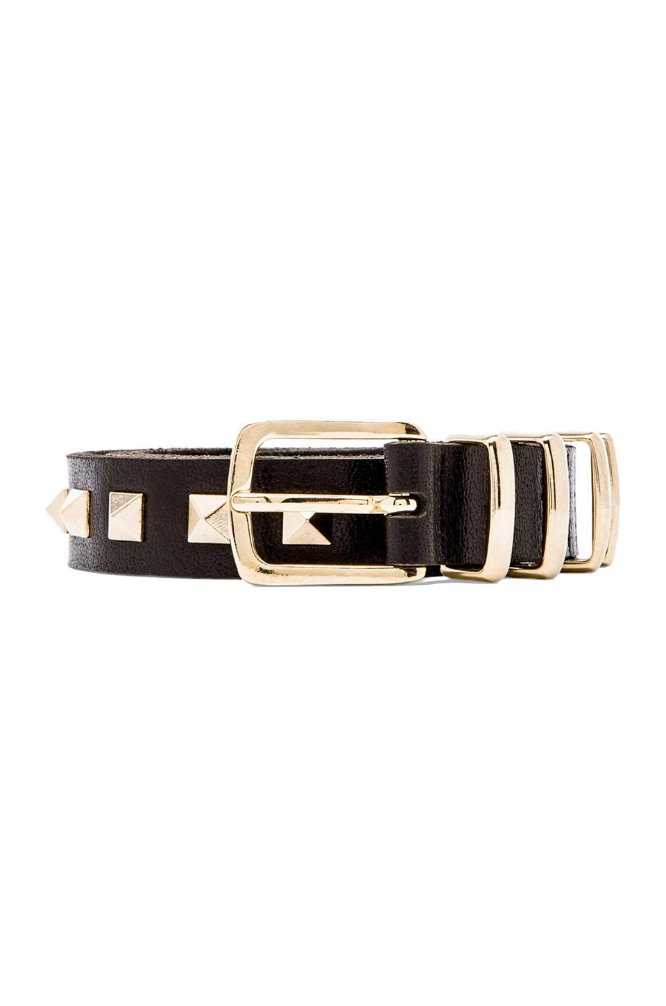 ANINE BING Gold Studded Belt in Black