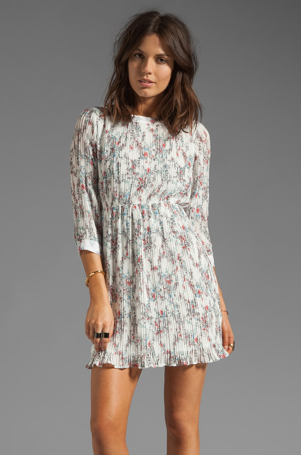 ANINE BING Floral Print Dress in White/Floral