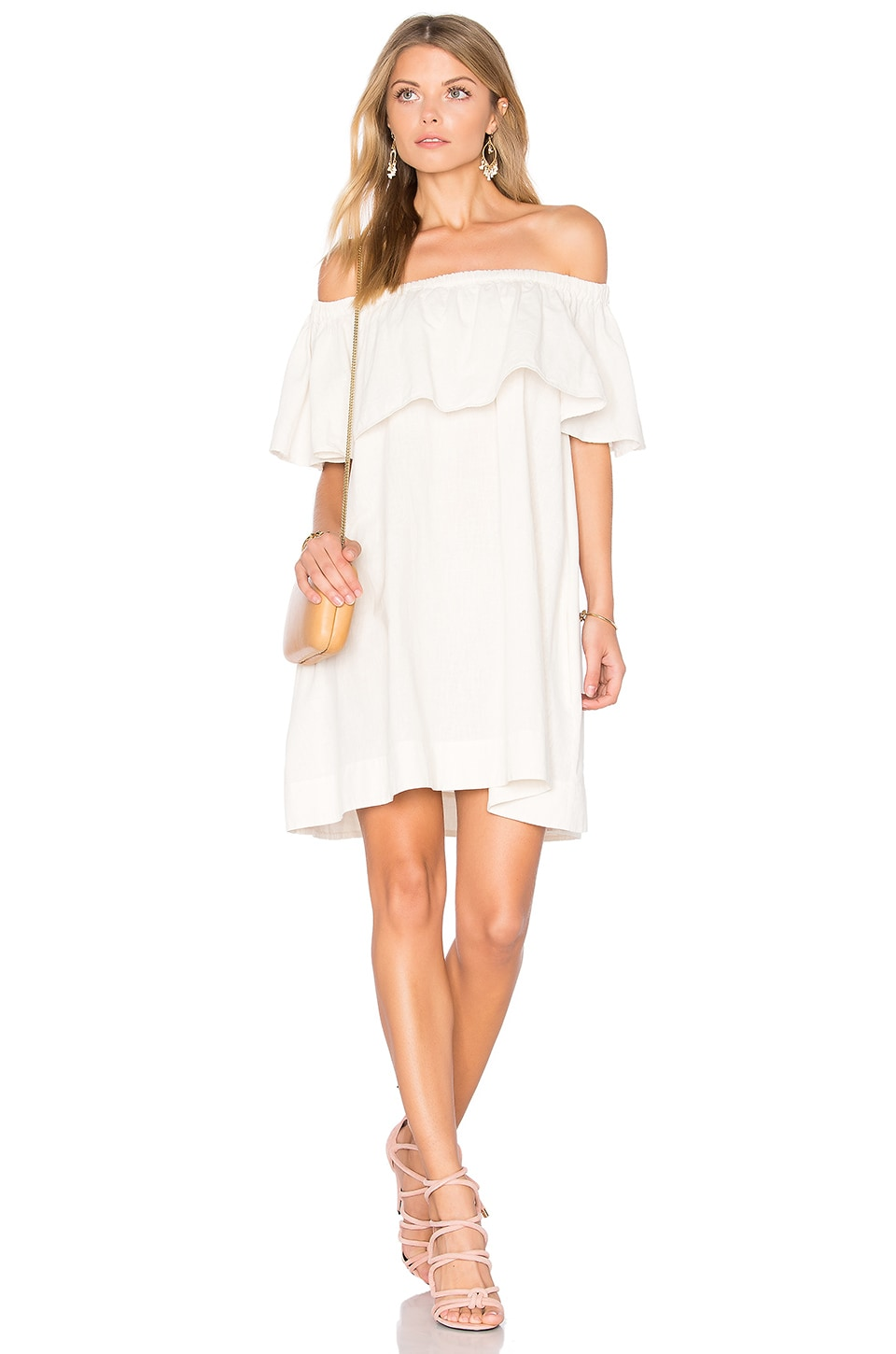 ANINE BING Off Shoulder Dress in Sand