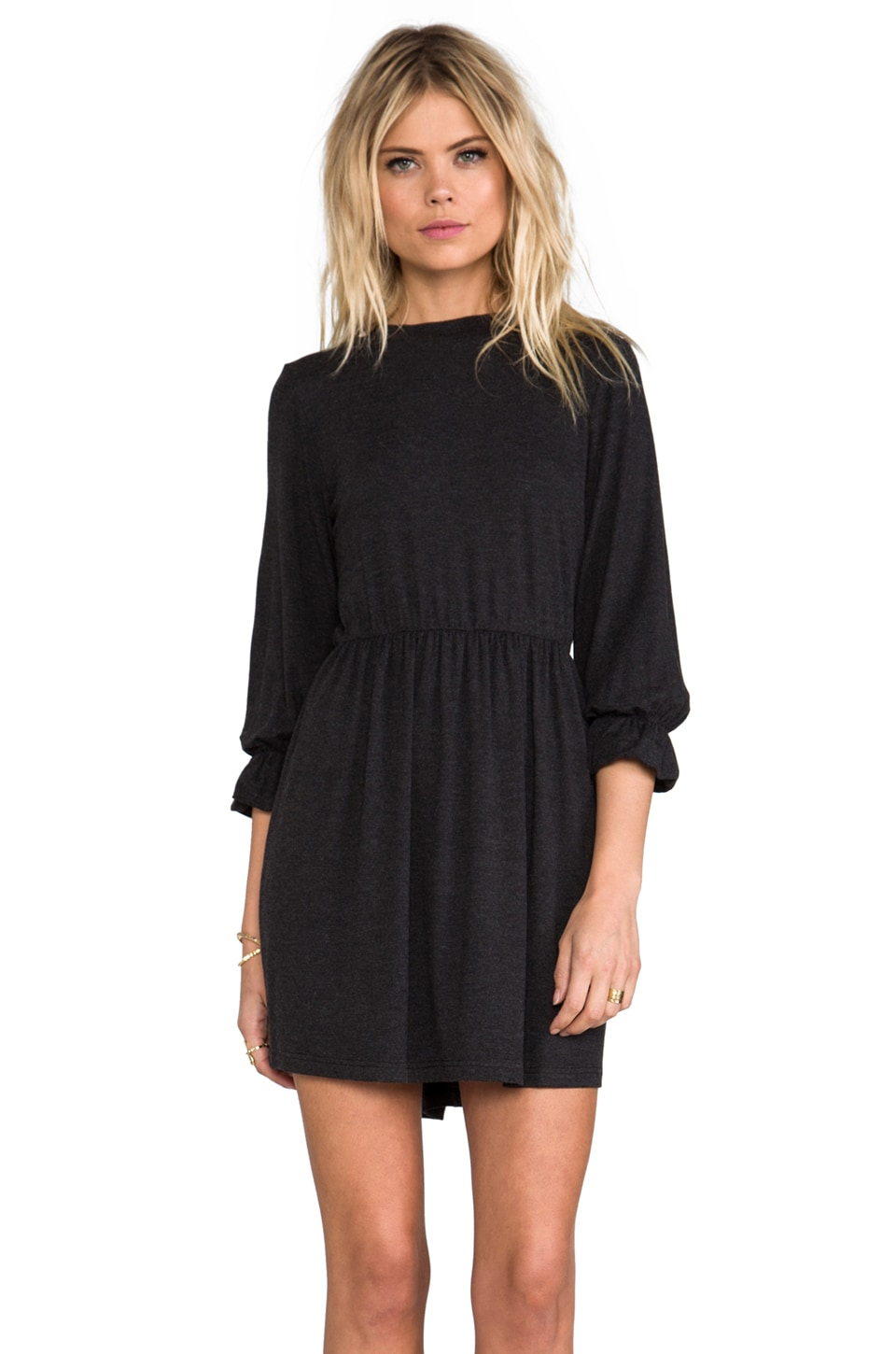ANINE BING High Collar Dress in Charcoal