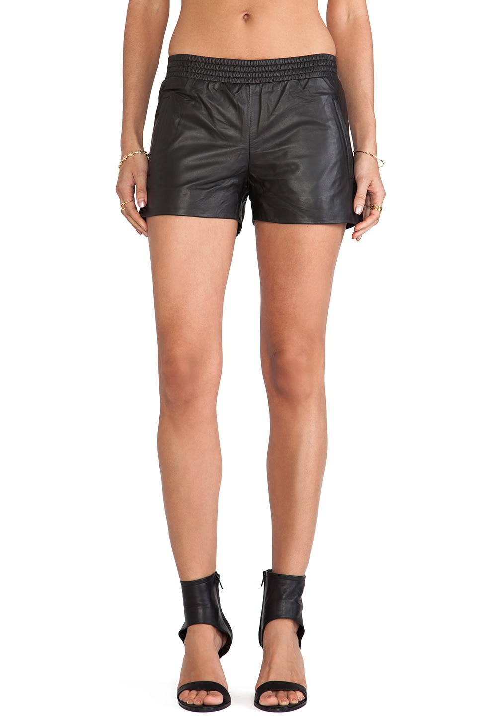 ANINE BING Leather Shorts in Black